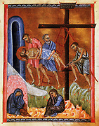 Deposition, Entombment and Lamentation of Christ.  After Armenian Evangelistery (Gospels) c1268. Painter and calligrapher Toros Rosline.