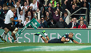 Twickenham, United Kingdom. Jonathan JOSEPH, touches down to score a first half try during the Old Mutual Wealth Series Rest Match: England vs Fiji, at the RFU Stadium, Twickenham, England, Saturday  19/11/2016<br />
