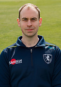 Will Garvey (Physiotherapist) of Kent during the Kent County Cricket Club Headshots 2017 Press Day at the Spitfire Ground, Canterbury, United Kingdom on 31 March 2017. Photo by Martin Cole.