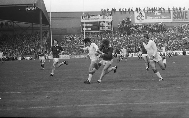 Cork and Galway get into a tussle during the All Ireland Senior Gaelic Football Championship Final Cork v Galway in Croke Park on the 23rd September 1973. Cork 3-17 Galway 2-13.