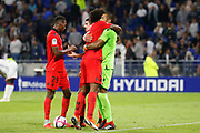 Win Benitez Walter of Nice and Costa Santos Dante of Nice and Herelle Christophe of Nice and Lees-Melou Pierre of Nice during the French championship L1 football match between Olympique Lyonnais and Amiens on August 12th, 2018 at Groupama stadium in Decines Charpieu near Lyon, France - Photo Romain Biard / Isports / ProSportsImages / DPPI