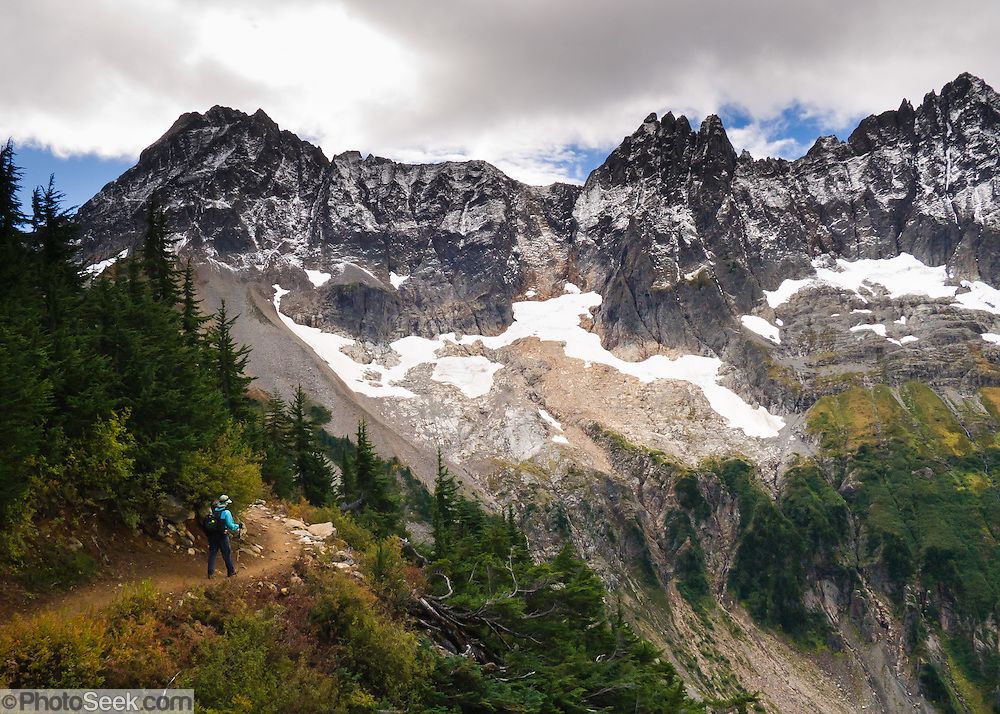 Hike to Cascade Pass in North Cascades National Park, Washington, USA. The Triplets are the sharp peaks on right.