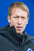 Graham Potter, Head Coach of Brighton & Hove Albion FC ahead of the Premier League match between Brighton and Hove Albion and Chelsea at the American Express Community Stadium, Brighton and Hove, England on 1 January 2020.