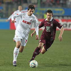 05.02.2012, Fritz Walter Stadium, Kaiserslautern, GER, 1. FBL, 1.FC Kaiserslautern vs 1.FC Koeln, 20. Spieltag, im Bild SERENO (1.FC Koeln) im Laufduell mit Ariel BORYSIUK (1.FC Kaiserslautern), Aktion/ Action // during the German Bundesliga Match between 1.FC Kaiserslautern vs 1.FC Koeln at the Fritz Walter Stadium in Kaiserslautern, Germany, 2012/02/05. EXPA Pictures © 2012, PhotoCredit: EXPA/ Eibner/ Alexander Neis..***** ATTENTION - OUT OF GER *****