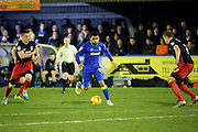 AFC Wimbledon striker Andy Barcham (17) dribbling during the EFL Sky Bet League 1 match between AFC Wimbledon and Coventry City at the Cherry Red Records Stadium, Kingston, England on 14 February 2017. Photo by Matthew Redman.
