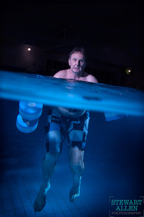 Feature- Magazine Style<br /> Stewart Allen<br /> The Sunday Times<br /> Controversial radio host Howard Sattler undergoing water therapy for his Parkinsons disease.