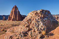 Temple of the Sun with Glass mountain in the foreground Capitol Reef National Park Utah