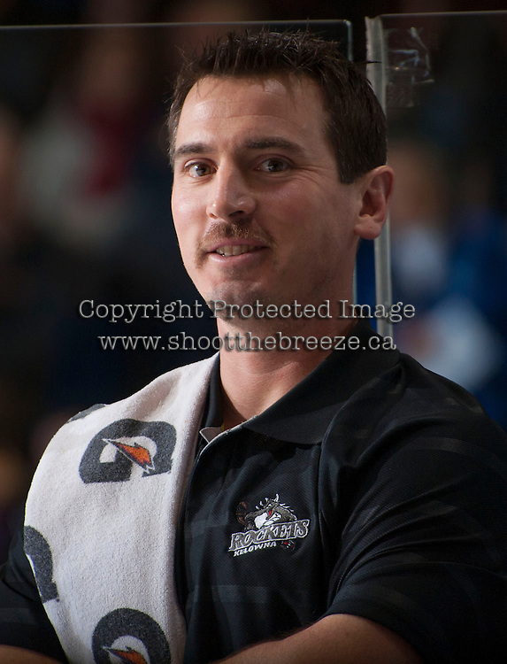 KELOWNA, CANADA - NOVEMBER 23:  Jeff Thorburn, athletic therapist of the Kelowna Rockets stands on the bench opposite the Regina Pats at the Kelowna Rockets on November 23, 2012 at Prospera Place in Kelowna, British Columbia, Canada (Photo by Marissa Baecker/Shoot the Breeze) *** Local Caption *** Jeff Thorburn;