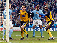 Photo: Jed Wee.<br />Manchester City v Wigan Athletic. The Barclays Premiership. 18/03/2006.<br /><br />Wigan's Lee McCulloch (L) celebrates his goal with Jason Roberts.