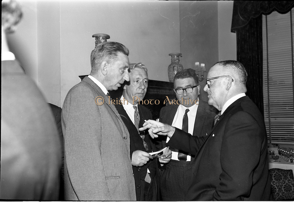 01/06/1964<br /> 06/01/1964<br /> 01 June 1964<br /> Language Organisations reception at the Shelbourne Hotel, Dublin for signing of declaration regarding the future of the Irish language. Among the leading personalities gathered to sign the National Declaration regarding the future of the Irish Language were Dr. T. Andrews, Chairman, C.I.E.; Alderman Sean Moore, Lord Mayor of Dublin; Sean O'Ceallaigh, Principal, Rathmines Technical School and Dr. Frederick Boland.