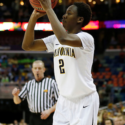 April 7, 2013; New Orleans, LA, USA; California Golden Bears guard Afure Jemerigbe (2) shoots against the Louisville Cardinals during the first half in the semifinals during the 2013 NCAA womens Final Four at the New Orleans Arena. Mandatory Credit: Derick E. Hingle-USA TODAY Sports