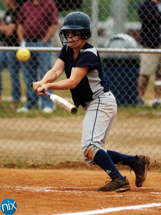Hickory Ridge's Emma Stevenson hits for a base hit against St. Stephens High School Thursday night in Harrisburg.