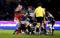 Schalk Burger of Saracens goes to punch Mike Haley of Sale Sharks - Mandatory by-line: Robbie Stephenson/JMP - 18/12/2016 - RUGBY - AJ Bell Stadium - Sale, England - Sale Sharks v Saracens - European Champions Cup