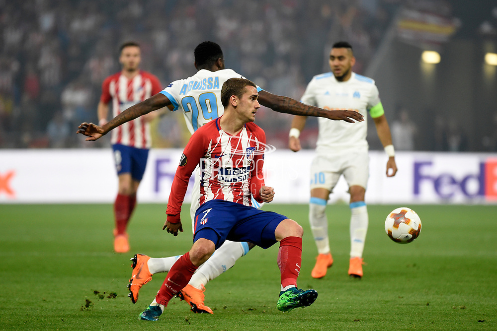 Forward Antoine Griezmann of Atletico de Madrid and Midfielder Andre Zambo Anguissa of Olympique de Marseille during the UEFA Europa League, Final football match between Olympique de Marseille and Atletico de Madrid on May 16, 2018 at Groupama Stadium in Decines-Charpieu near Lyon, France - Photo Jean-Marie Hervio / ProSportsImages / DPPI