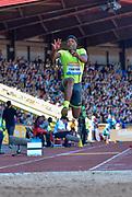Chris Carter (USA) leaps in the Triple Jump during the Sainsbury's Birmingham Grand Prix IAAF Diamond League Meeting at Alexandra Stadium, Birmingham, West Midlands, England on June  07  2015. (Steve Flynn/Image of Sport)