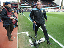 BIRMINGHAM, ENGLAND - Easter Sunday, March 31, 2013: Aston Villa's manager Paul Lambert steps over a camera left by a photographer before the Premiership match against Liverpool at Villa Park. (Pic by David Rawcliffe/Propaganda)