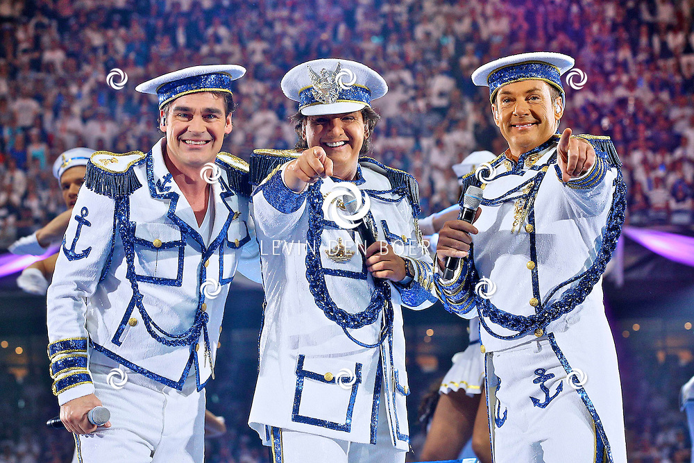 AMSTERDAM - De Toppers in Concert 2012 The Loveboat Edition in de Amsterdam Arena in Amsterdam. Met op de foto de Toppers vlnr Jeroen van der Boom, Rene Froger en Gerard Joling. FOTO LEVIN DEN BOER - PERSFOTO.NU