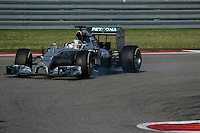 Lewis Hamilton (GBR) Mercedes AMG F1 W05 locks up under braking.<br /> United States Grand Prix, Sunday 2nd November 2014. Circuit of the Americas, Austin, Texas, USA.