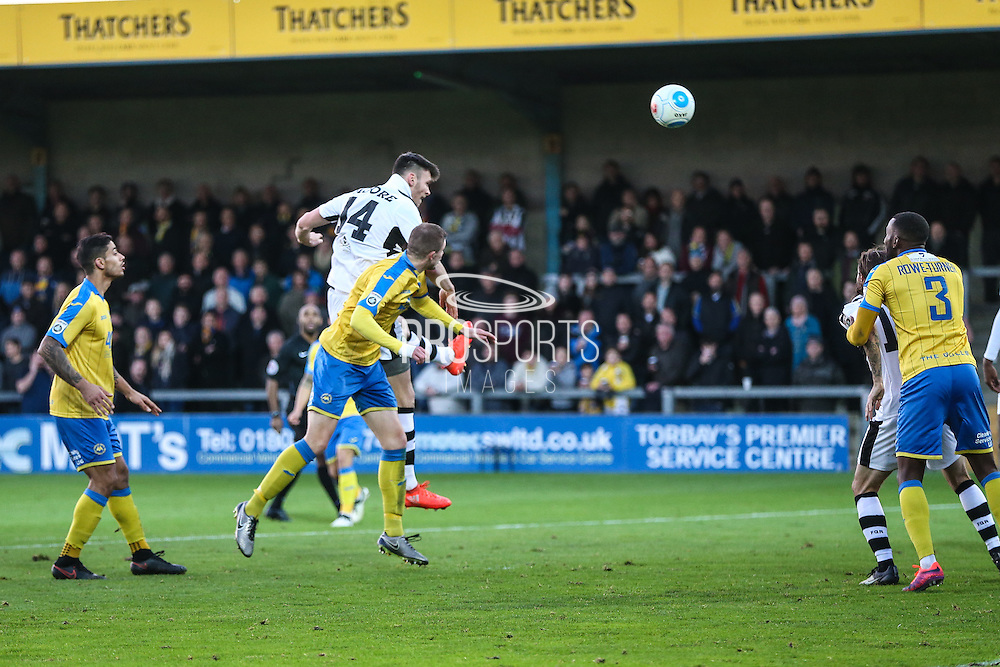 Forest Green Rovers Kieffer Moore(14) heads the ball towards goal during the Vanarama National League match between Torquay United and Forest Green Rovers at Plainmoor, Torquay, England on 26 December 2016. Photo by Shane Healey.