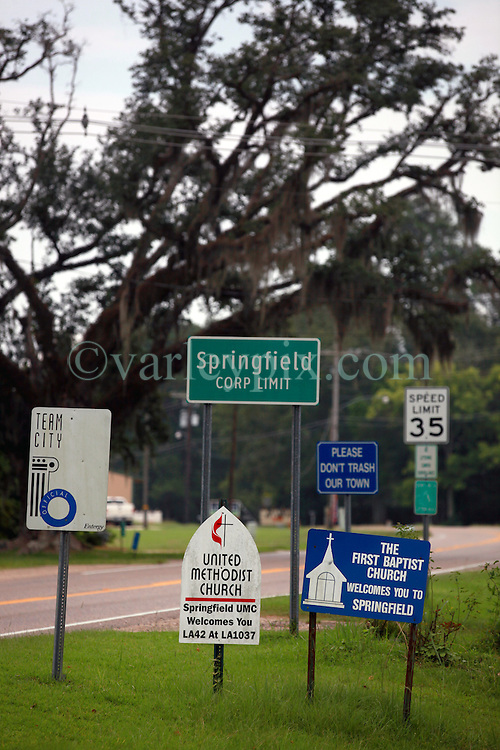 01 Aug 2013. Springfield Louisiana.<br /> The sleepy town of Springfield, with more churches than gas stations and restaurants combined. Despite what many are claiming to be spurious payments by BP, life in rural Louisiana hasn't changed much. BP has launched a major publicity campaign to fight back against what it considers unjust payouts from the Gulf coast claims process. <br /> Photo; Charlie Varley
