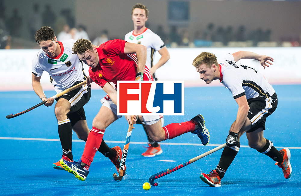 BHUBANESWAR - The Odisha Men's Hockey World League Final . Match ID 01 .Phil Roper (Eng)  with Ferdinand Weinke (Ger) WORLDSPORTPICS COPYRIGHT  KOEN SUYK