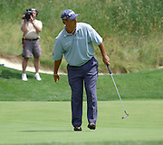 Jun 26, 2006; Gaylord, MI; Chris DiMarco reacts as his birdie attempt just misses on the fifth hole during the ING Par-3 Shootout at Treetops Resort in Gaylord.