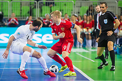 Taynan of Kazakhstan and Sergei Abramov of Russia during futsal match between Russia and Kazakhstan in Third place match of UEFA Futsal EURO 2018, on February 10, 2018 in Arena Stozice, Ljubljana, Slovenia. Photo by Ziga Zupan / Sportida