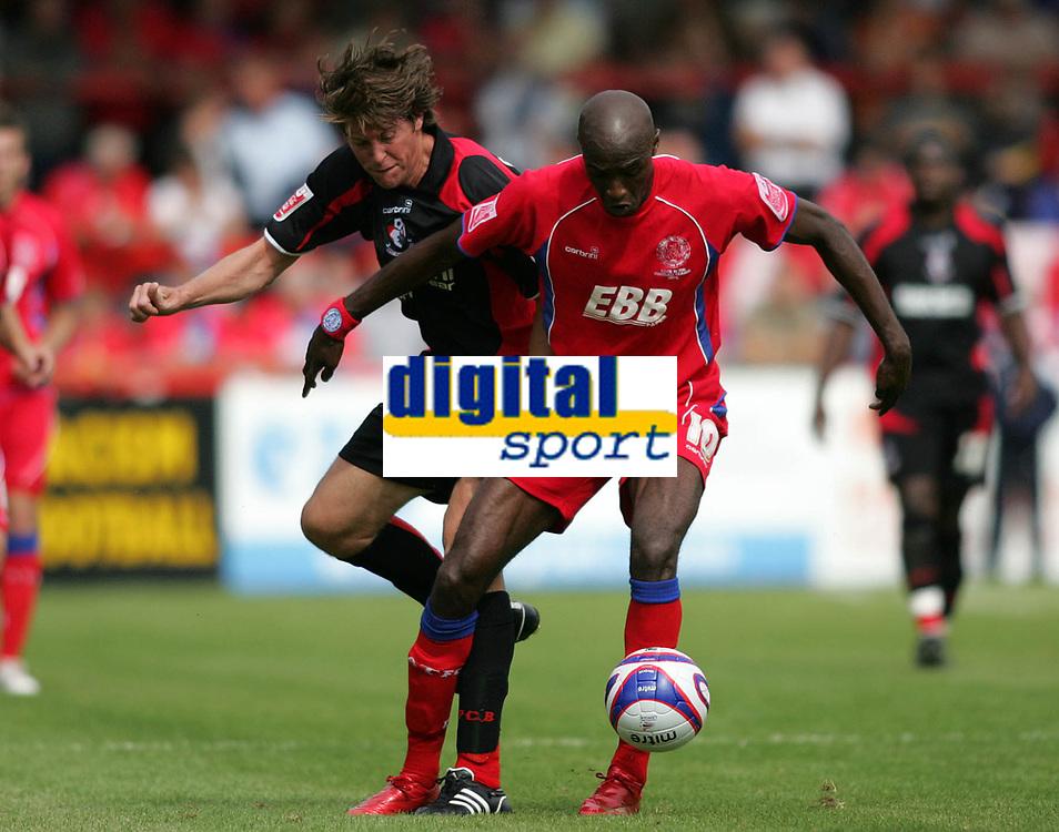 Photo: Lee Earle/Richard Lane Photography. <br /> Aldershot Town v AFC Bournemouth. Coca Cola League 2. 16/08/2008.    Bournemouth's Darren Anderton (L) battles with Marvin Morgan.