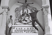 Boys posing with Peace Pagoda, Battersea Park, London, UK, 1986.