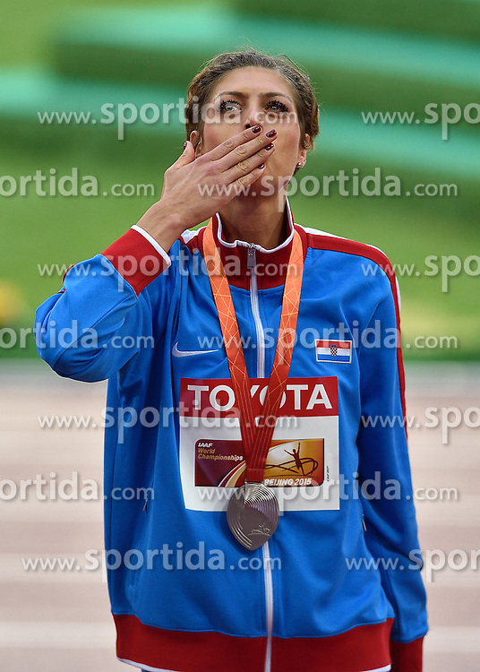 30-08-2015 CHN: IAAF World Championships Athletics day 9, Beijing<br /> Huldiging hoogspringen Blanka Vlasic CRO, zilver medaille<br /> Photo by Ronald Hoogendoorn / Sportida