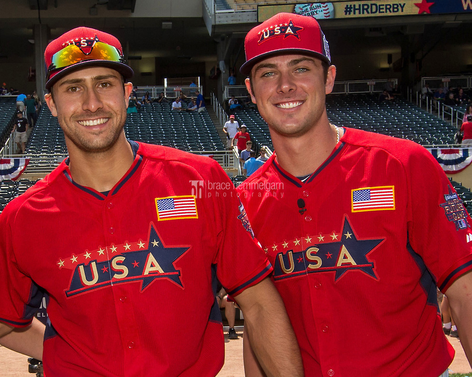 MINNEAPOLIS, MN- JULY 13: Kris Bryant #23 and Joey Gallo #13 of the U.S. Team during the SiriusXM All-Star Futures Game at Target Field on July 13, 2014 in Minneapolis, Minnesota. (Photo by Brace Hemmelgarn) *** Local Caption *** Joey Gallo;Kris Bryant