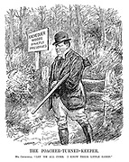 "The Poacher-turned-Keeper. Mr Churchill. ""Let 'em all come. I know their little games."" (Winston Churchill with rifle protects the Exchequer Woods - Stricly Preserved during the InterWar era)"