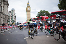 Rachele Barbieri (ITA) of Cylance Pro Cycling and the peloton rides past the Big Ben during the Prudential RideLondon Classique, a 66 km road race in London on July 30, 2016 in the United Kingdom.