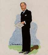 Arthur Greenwood (1880-1954) economist, trade unionist and prominent British Labour (socialist) politician, born in Leeds, Yorkshire.  Active 1920-1947.   From a series of cards on 'Notable MPs' (London, 1929).