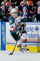 KELOWNA, CANADA, JANUARY 25: Tyson Baillie #24 of the Kelowna Rockets skates with the puck as the Kamloops Blazers visit the Kelowna Rockets on January 25, 2012 at Prospera Place in Kelowna, British Columbia, Canada (Photo by Marissa Baecker/Getty Images) *** Local Caption ***
