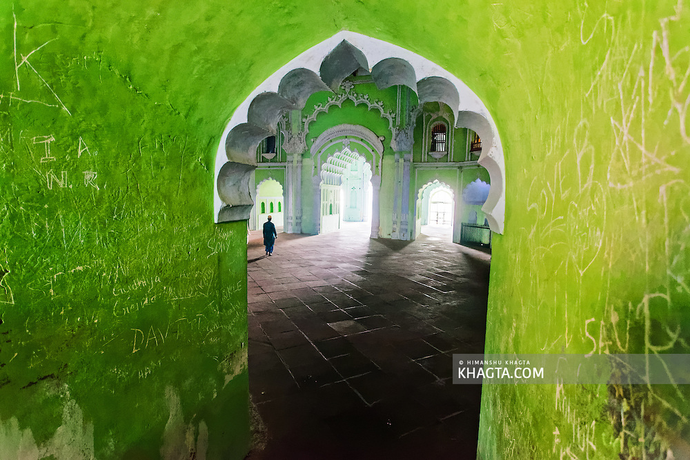 Green walks of the heritage building of Bara Imambara built by Asaf-ud-Daula, Nawab of Awadh, in 1784. It is also called the Asafi Imambara. Imambara is a shrine built by Shia Muslims for the purpose of Azadari.
