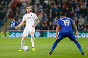 Pontus Jansson of Leeds United during the EFL Sky Bet Championship match between Cardiff City and Leeds United at the Cardiff City Stadium, Cardiff, Wales on 26 September 2017. Photo by Andrew Lewis.