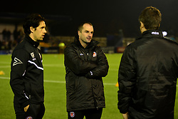 """Hyde FC manager Darren Kelly during the Emirates FA Cup, first round match at Ewen Fields, Hyde. PRESS ASSOCIATION Photo. Picture date: Friday November 3, 2017. See PA story SOCCER Hyde. Photo credit should read: Anthony Devlin/PA Wire. RESTRICTIONS: EDITORIAL USE ONLY No use with unauthorised audio, video, data, fixture lists, club/league logos or """"live"""" services. Online in-match use limited to 75 images, no video emulation. No use in betting, games or single club/league/player publications."""