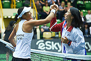 INOWROCLAW, POLAND - 2016 APRIL 17: Ching-Wen Hsu and captain Shi-Ting Wang both of Chinese Taipei celebrates victory at fourth women's singles during the Fed Cup / World Group Play Off round tennis match between Poland and Chinese Taipei at OSiR Hall on April 17, 2016 in Inowroclaw, Poland.<br /> <br /> Picture also available in RAW (NEF) or TIFF format on special request.<br /> <br /> Any editorial, commercial or promotional use requires written permission.<br /> <br /> Adam Nurkiewicz declares that he has no rights to the image of people at the photographs of his authorship.<br /> <br /> Mandatory credit:<br /> Photo by © Adam Nurkiewicz / Mediasport