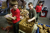 Tyler Rieken, left, watch his behind the back shot go toward a bin as he and Brennan Jorgensen and Ryan Hinman, all 12, help sort potatoes Monday at the Community Action Partnership food bank in Coeur d'Alene. The trio was part of Boys Scouts Troop 201 which volunteered a day of their spring break vacation to help out at the food bank cleaning, sorting and helping move items through the warehouse.
