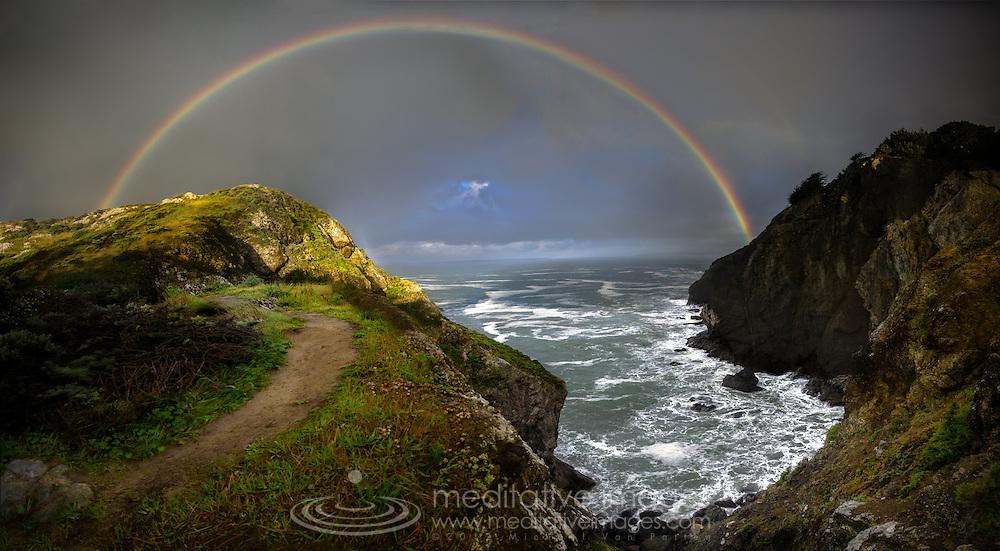 California, coast, Full rainbow, sunlit cove, dramatic sky