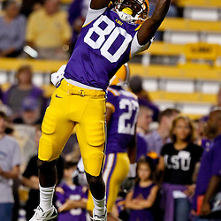 November 13, 2010; Baton Rouge, LA, USA; LSU Tigers wide receiver Terrence Toliver (80) during warm ups prior to kickoff of a game against the Louisiana Monroe Warhawks at Tiger Stadium.  Mandatory Credit: Derick E. Hingle