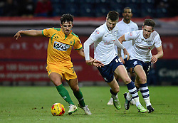 Yeovil Town's Liam Shephard competes with Preston North End's Paul Gallagher and Scott Laird (R) - Photo mandatory by-line: Richard Martin-Roberts - Mobile: 07966 386802 - 20/01/2015 - SPORT - Football - Preston - Deepdale Stadium - Preston North End v Yeovil Town - Sky Bet League One