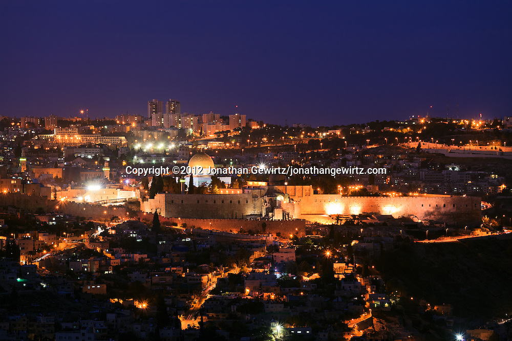 Night view from the South of the Old City of Jerusalem, with the Jewish Quarter, Temple Mount and Dome of the Rock in the center. WATERMARKS WILL NOT APPEAR ON PRINTS OR LICENSED IMAGES.