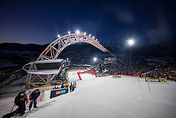 24.01.2017, Planai, Schladming, AUT, FIS Weltcup Ski Alpin, Schladming, Slalom, Herren, im Bild Zielstadion der Planai mit VÖST Alpine Bogen Skygate // Planai Stadium with Skygate before the 1st run of men's Slalom of FIS ski alpine world cup at the Planai in Schladming, Austria on 2017/01/24. EXPA Pictures © 2017, PhotoCredit: EXPA/ Johann Groder