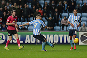 Coventry City striker Adam Armstrong scores the equaliser during the Sky Bet League 1 match between Coventry City and Peterborough United at the Ricoh Arena, Coventry, England on 31 October 2015. Photo by Alan Franklin.