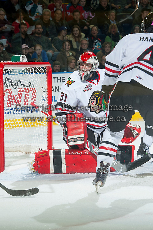 KELOWNA, CANADA - NOVEMBER 22: Adin Hill #31 of Portland Winterhawks defends the net against the Kelowna Rockets on November 22, 2014 at Prospera Place in Kelowna, British Columbia, Canada.  (Photo by Marissa Baecker/Shoot the Breeze)  *** Local Caption *** Adin Hill;
