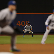 Kevin Pillar, Toronto Blue Jays, fielding at center field during the New York Mets Vs Toronto Blue Jays MLB regular season baseball game at Citi Field, Queens, New York. USA. 15th June 2015. Photo Tim Clayton