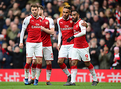 Pierre-Emerick Aubameyang of Arsenal celebrates with Alexandre Lacazette of Arsenal - Mandatory by-line: Alex James/JMP - 01/04/2018 - FOOTBALL - Emirates Stadium - London, England - Arsenal v Stoke City - Premier League
