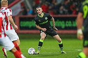 Forest Green Rovers Carl Winchester(7) on the ball during the EFL Sky Bet League 2 match between Cheltenham Town and Forest Green Rovers at Jonny Rocks Stadium, Cheltenham, England on 2 November 2019.